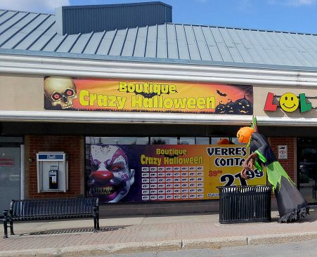 Boutique Crazy Halloween Laval - Vinyl banner - Made locally in Quebec Montreal