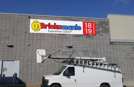Brickomanie custom banner printing - Made locally in Quebec, Canada - Made to last